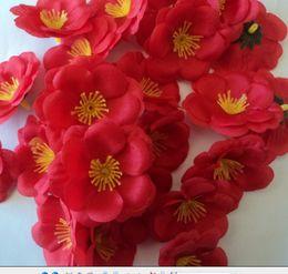 Wholesale Peach Petals - 500pcs 5.5cm Silk Flower Heads Artificial peach blossom Simulation Flowers five Colors for DIY Bridal Bouquet