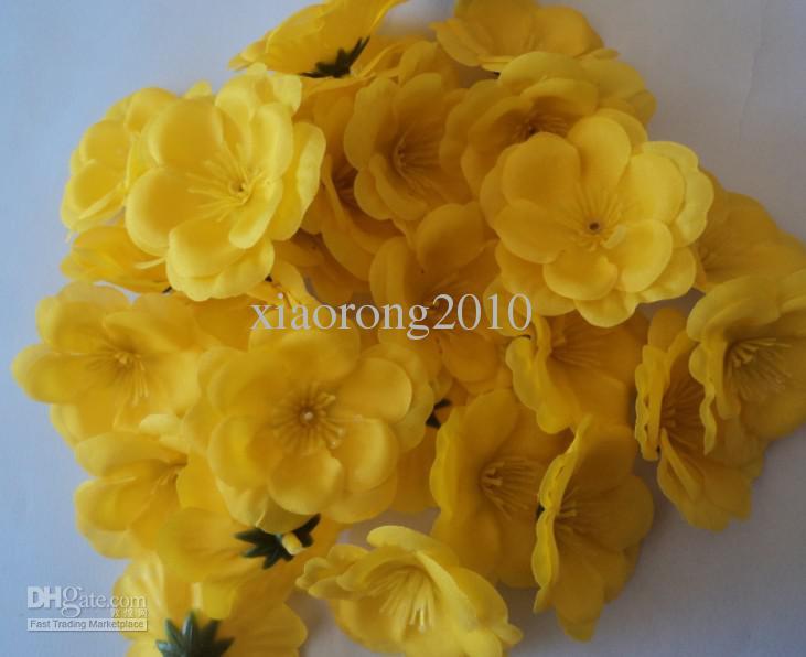 500 unids 5.5 cm cabezas de flores de seda artificial melocotón flores de simulación cinco colores para DIY ramo de novia