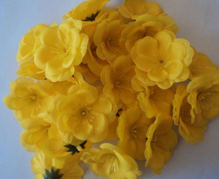 Neue Ankunft 300 p 5,5 cm Seide Künstliche Simulation Blumen Gelbe Pfirsich Blume für DIY Brautstrauß