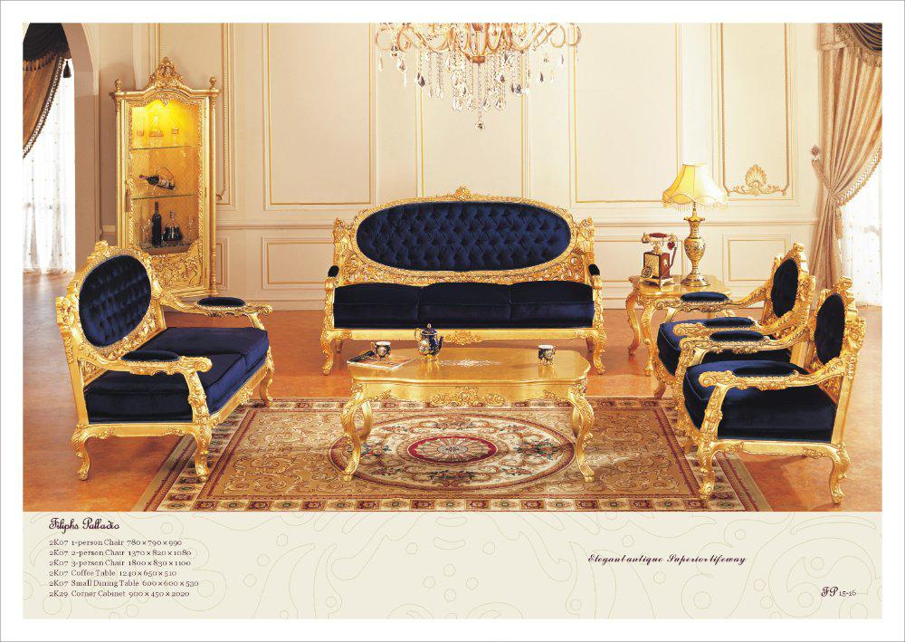 French Antique Furniture ,all Golden Foil Living Room Sofa Set ,high End  Home Furniture French Furniture Accent Chair Rococo Style Furniture Online  with ... - French Antique Furniture ,all Golden Foil Living Room Sofa Set ,high