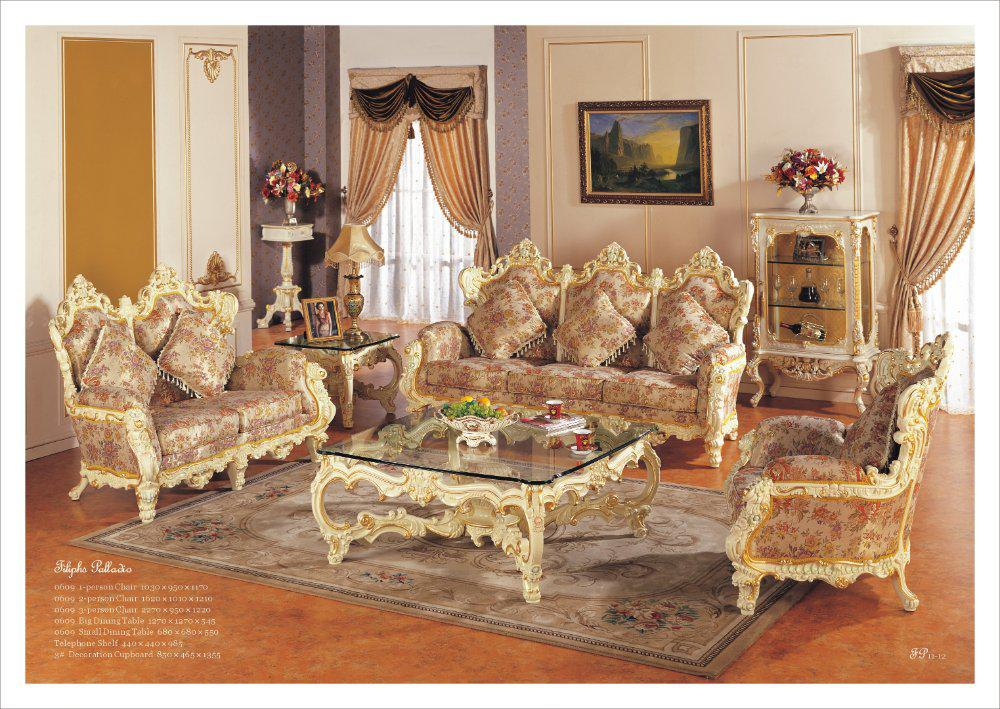Hot Selling Rococo Style Living Room Sofa Set Palace