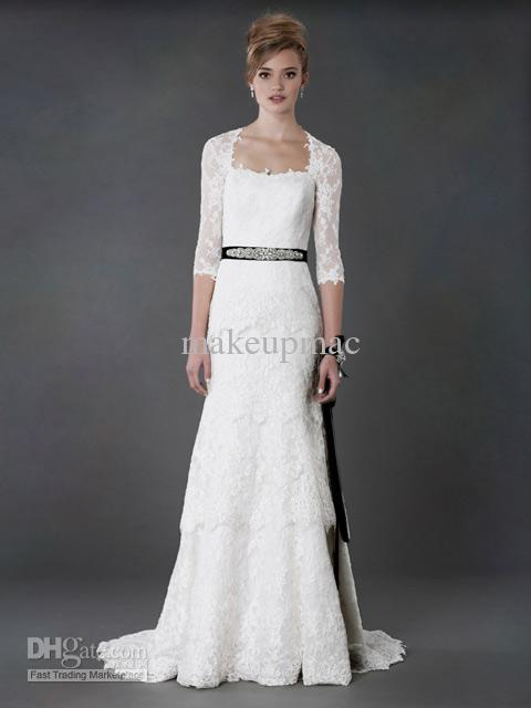 Discount Three Quarter Sleeve Lace A Line Gown Beaded Sash 2013 ...