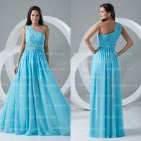 Wholesale one shoulder beach dress - 2015 A-line Floor Length Waist Beads One Shoulder Ruffle Chiffon Bridesmaid Dress Beach Wedding Event BD036