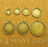 Wholesale 18mm Round Pendant Trays - 8mm 10mm 12mm 16mm 18mm Blank Pendant Tray Bases Cameo Cabochon,Bronze Alloy DIY Jewelry Setting