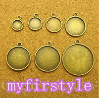 Wholesale Wholesale Metal 25mm Round Tray - 20mm 25mm 50pcs Blank Pendant Tray Bases Cameo Cabochon,Bronze Alloy Tray Cameo DIY Jewelry Setting