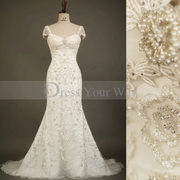 Wholesale Embroideried Sequin - 2015 Mermaid Wedding Dress Luxury Charming Cap Sleeves Beads Sequins Embroideried Lace Gown Dhyz