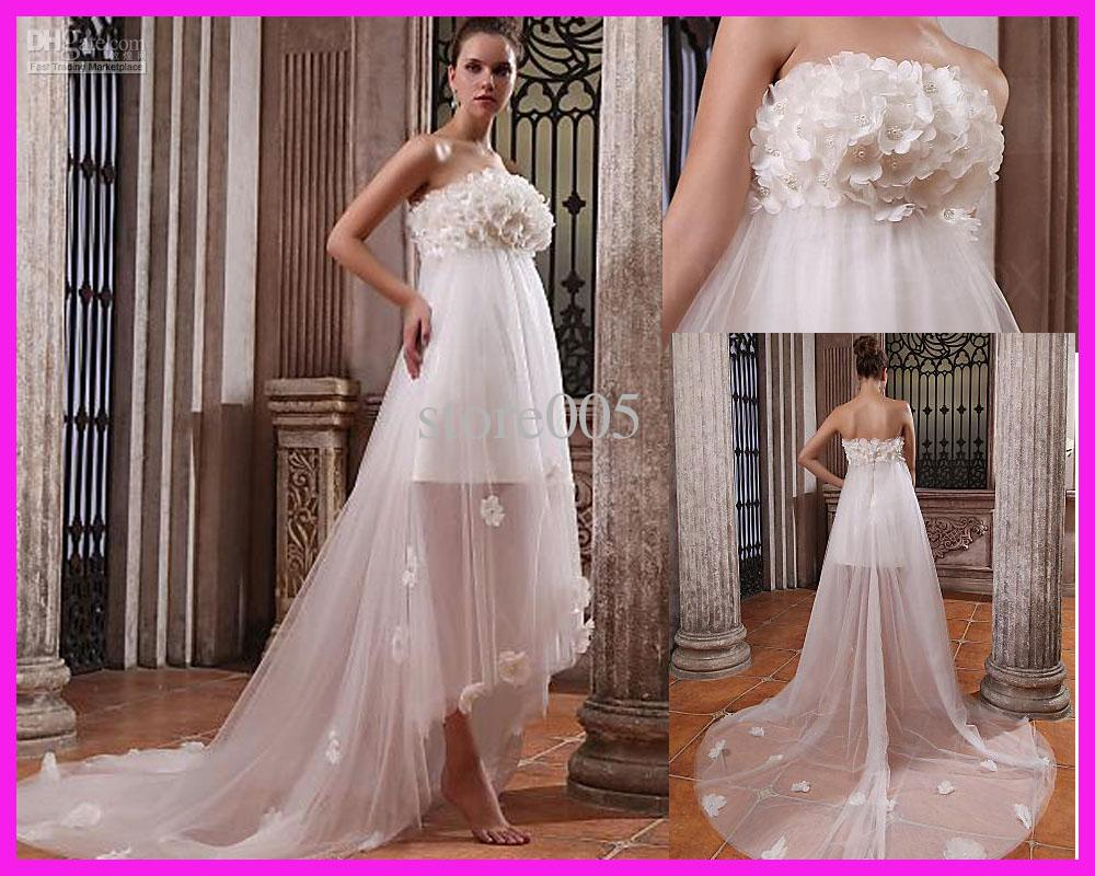 Cheap Wedding Dresses Plus Size Under 100 Dollars: Empire Flowers Beach Maternity Wedding Dresses Gowns