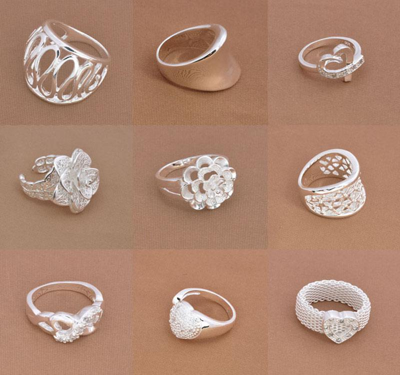 Hot Sale 925 Silver Jewelry Fashion Multi Styles Finger Rings New Rings Size 7 8 9 Mix Styles