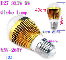 Wholesale Ball Lamp B22 3x3w - 10X E27 3X3W 9W Globe Lamp Led Light Bubble Ball Bulb 85V-265V Spotlight Downlight with good quality