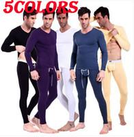 Wholesale Mens Long Johns Tops - 5COLORS Mens Modal Long Johns Thermal Underwear Set Thermo Top Long Sleeve Shirt Pants free shipping