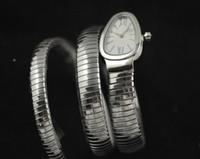 ingrosso vigilanza del serpente dell'argento del quarzo-Spedizione gratuita New Lady Tubogas in acciaio inossidabile Snake Watch quadrante argento da donna al quarzo Fashion WristWatches