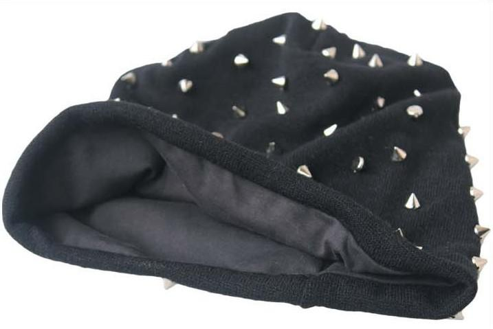 Khaki/Black/Grey/Dark Grey Unisex Hip-hop Style Baggy Beanie Spike Studs Rivet Cap Hat