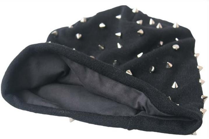 khaki / svart / grå / mörkgrå unisex hip-hop stil baggy beanie spike studs rivet cap hatt