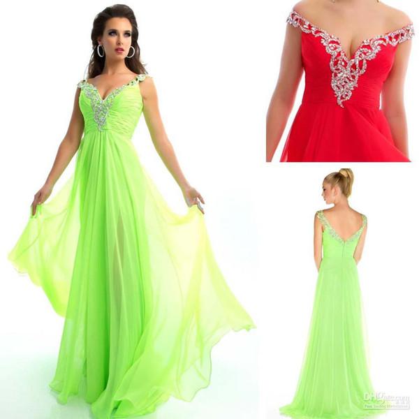 Colorful Plus Size Women Evening Dresses Off The Shoulder Empire ...