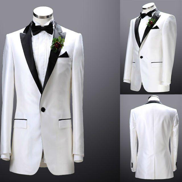 White Groom Tuxedos 2014 Men\'s Suits Groomsman Formal Bridegroom ...