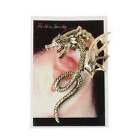 placa de dragón de bronce al por mayor-Punk Jewelry Monster Dragon con alas Ear Cuff Retro Silver y Bronze Wrap on Earring