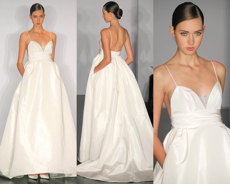 Simple A Line Sweetheart Taffeta Wedding Dress With: Discount Spaghetti Strap V Neck Taffeta A Line Gown