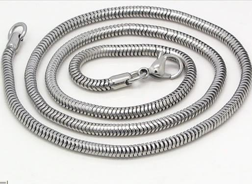 3.2mm de alta qualidade de prata em aço Inoxidável rodada colar de corrente de cobra, 21.6 ''. Para o aniversário dos homens legal
