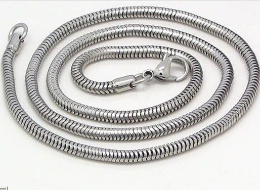 3.2mm Yüksek kalite gümüş Paslanmaz çelik yuvarlak yılan zincir kolye, 21.6 ''. Serin erkek doğum günü için