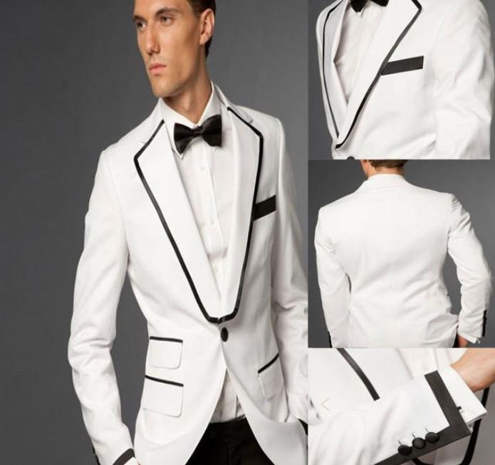 White And Black Groom Tuxedos 2014 Formal Best Men'S Suits ...