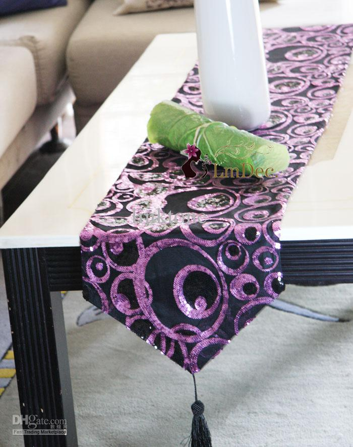 Wonderful New Arrival Decorating Fabric Table Runner With Tassels Sequins  WX73