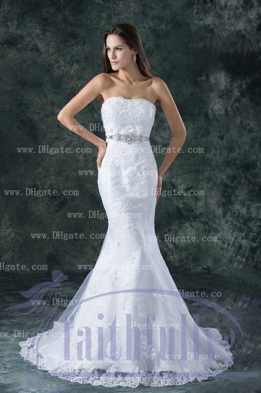 2013 Strapless Mermaid Wedding Dresses Lace Applique Bodice
