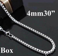 Wholesale Jewelry Pouches China - Bold Men's jewelry 925 Silver 6pcs 4mm Men's Box Chain Necklace 4mm 30inch Come with Box & Pouch
