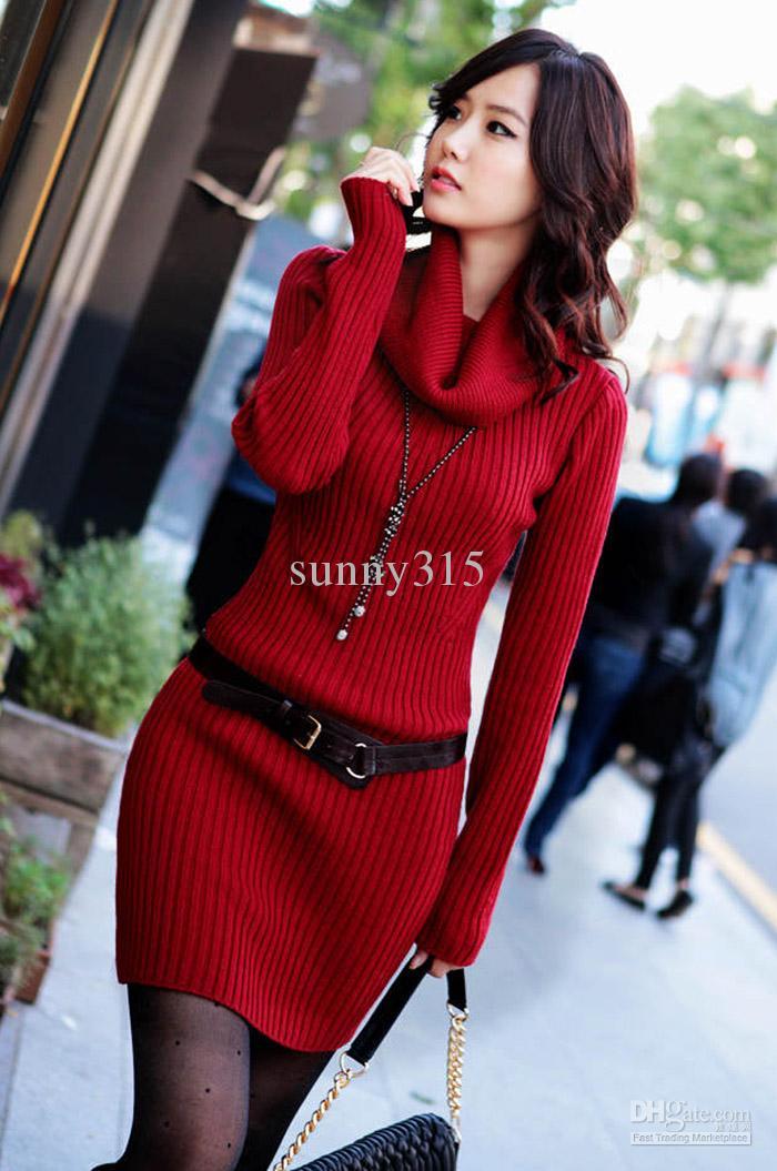 최고의 여성 스웨터 긴 소매 터틀넥 칼라 슬림 니트 스웨터 드레스 스웨터 스커트 스커트