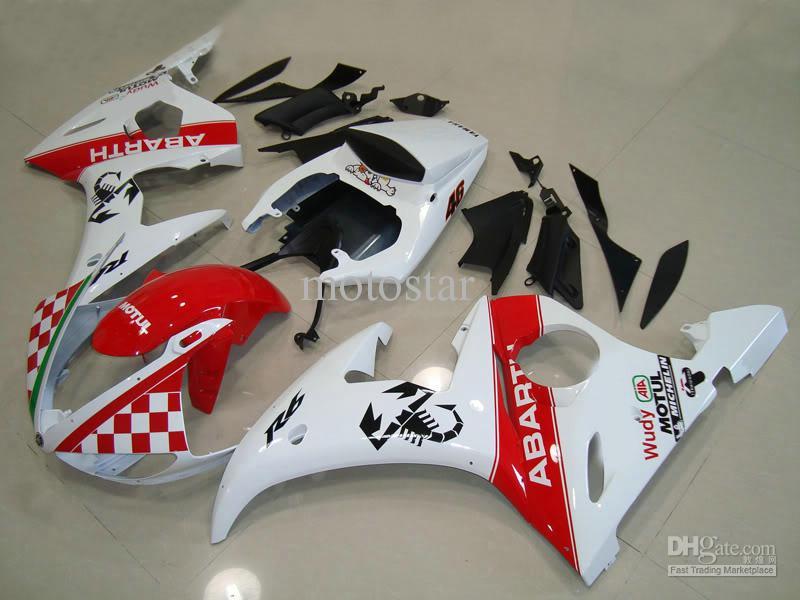Recentimentos de Abarth Branco Vermelho para Yamaha 2003 2004 YZF-R6 YZFR6 03 04 YZF R6 YZF600 Kit de Feira de Carroeira