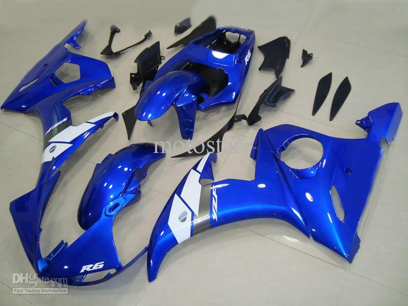 Bleu blanc personnalisé pour YAMAHA 2003 2004 YZF-R6 YZFR6 03 04 YZF R6 YZF600 carénages