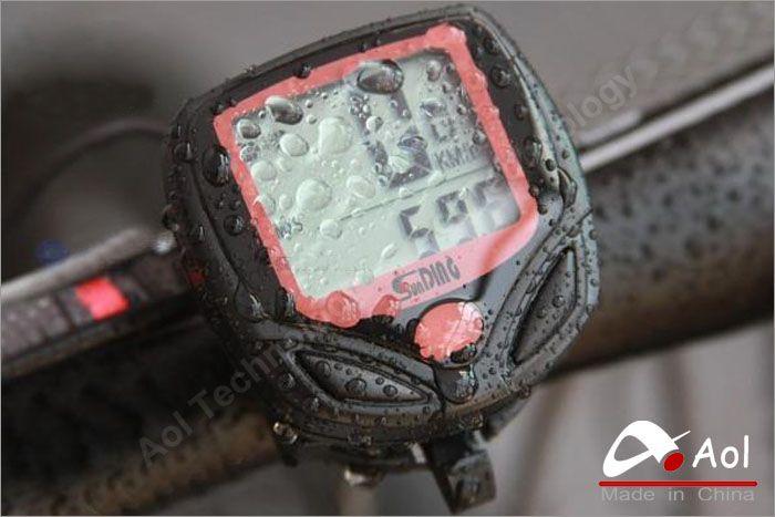 Black Wireless LCD display Waterproof Computer Cycle Bicycle Bike Meter Speedometer Odometer +cable