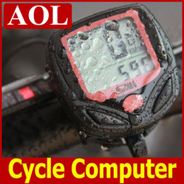 Wholesale Cable Cycling - Black Wireless LCD display Waterproof Computer Cycle Bicycle Bike Meter Speedometer Odometer +cable