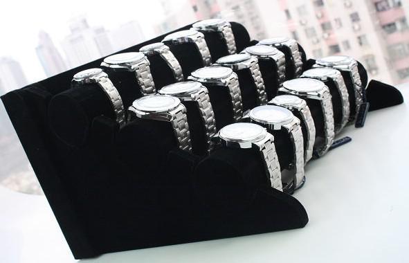 Frete grátis 1pcs Preto 3-Tier Velvet Assistir / pulseira Jóias Display Rack Stand Holder