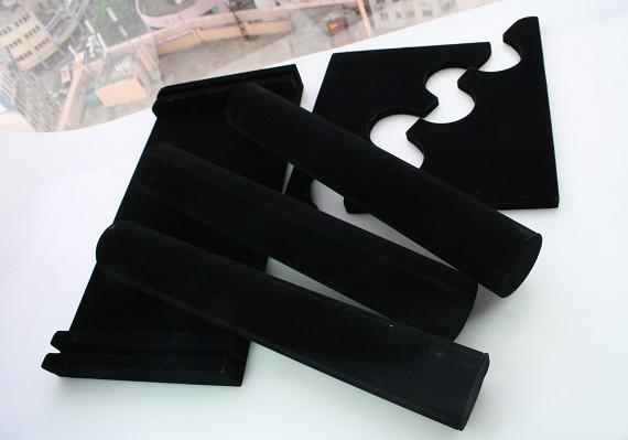 送料無料1ピースブラック3層ベルベットウォッチ/ブレスレットジュエリーディスプレイホルダースタンドラック