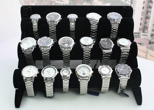 best selling Free Shipping 1pcs Black 3-Tier Velvet Watch Bracelet Jewelry Display Holder Stand Rack
