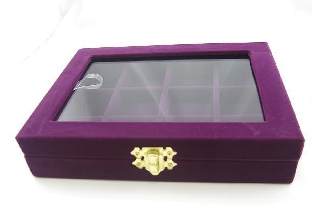 紫12コンパートメントジュエリーガラストップボックスケーストレイ