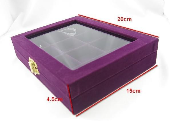 Lila 12 Fack Smycken Glas Top Box Case Bray