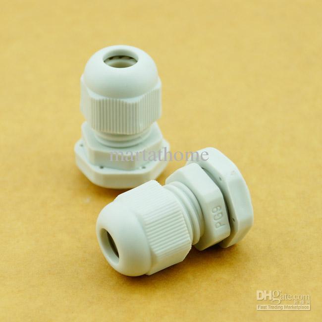 / NUEVOS conectores de Nylon a prueba de mal tiempo PG PG Gland PG9 PG09 Dia. 4 ~ 8 mm blanco # BV117 @CF
