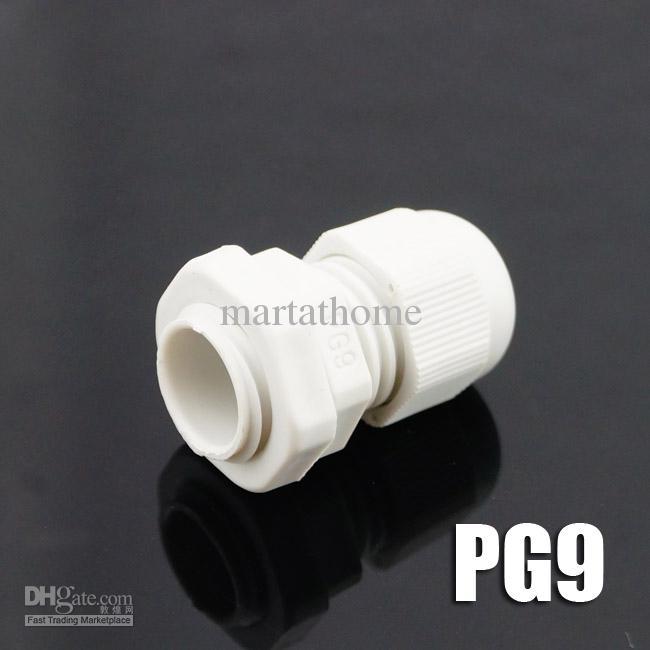 100st / mycket Nya väderbeständiga nylonanslutningar PG CABLE GLAND PG9 PG09 DIA. 4 ~ 8mm vit # bv117 @cf