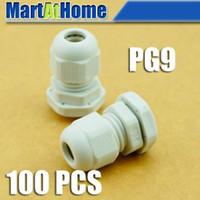 Wholesale Pg Connectors - 100PCS lot NEW Weather Proof Nylon Connectors PG Cable Gland PG9 PG09 Dia. 4~8mm White #BV117 @CF
