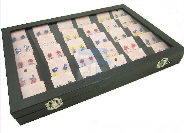 30 개 구획 보석 디스플레이 유리 상단 뚜껑 케이스 박스