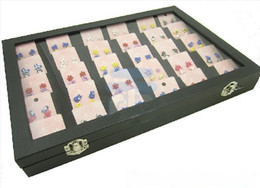 Glasses Display Cases Canada - 30 Compartments Jewelry Display Glass Top Lid Case Box