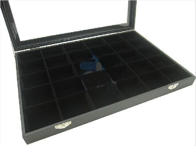 30 compartimentos exhibición de la joyería superior de cristal tapa de la caja del caso