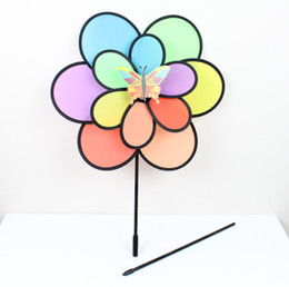 Wholesale Pe Coupling - free ship Windmill double six-color large windmills wholesale Hot couple outdoor toys for children