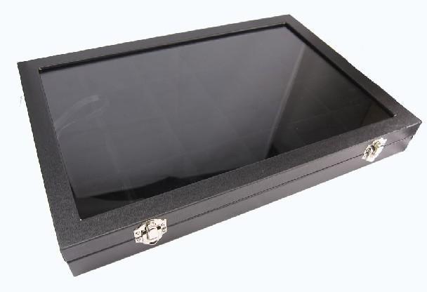 24 Fack Smycken Display Glas Top Case Box