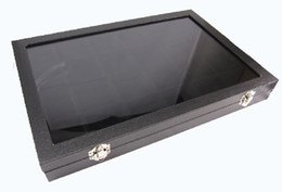 Glass Ring Display Case Canada - 24 Compartment Jewellery Display Glass Top Case Box