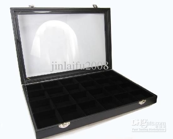 24 Compartiment Sieraden Display Glas Top Case Doos