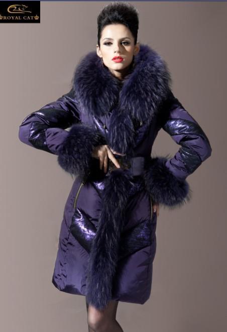 798f02db261 2018 Luxury Fur Collar Coat Womens Purple Slim Down Coats .