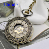 Antique Gravado Oco Round 47MM Pocket Watch Pendant Necklace Relógios mecânicos de homens romanos