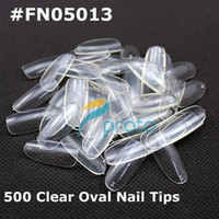 Wholesale Design French Nail Tips - Freeshipping--500 Oval Nails Tips Round Fullwell Clear Color Tips False Nail Art Tips Retail #FN0501